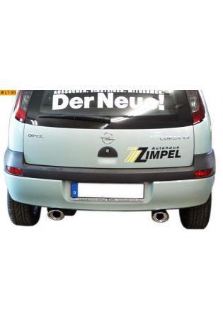 FOX Sportauspuff Duplex Endschalldämpfer Edelstahl Opel Corsa C Bj. 00-06  1.0l  1.2l  1.4l 1.8l  1.3l D  1.7l D  rechts  links je 1 ER 115x85mm  eingerollt  15 Grad abgeschrägt  mit Absorber