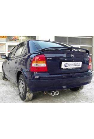 FOX Sportauspuff Opel Astra G Fließheck Bj. 98-04 1.4l bis 2.2l u. 1.7l TD bis 2.2l Dti  2 x 80mm mit Absorber