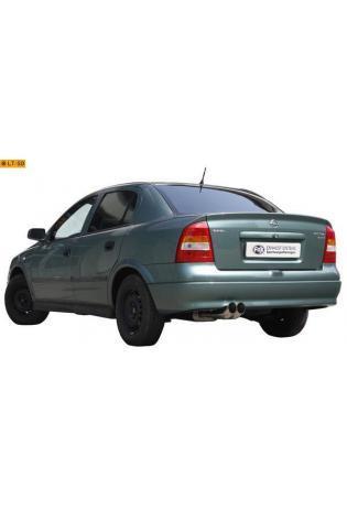 FOX Sportauspuff Opel Astra G Stufenheck Bj. 98-04 1.4l bis 2.2l u. 1.7l TD bis 2.2l Dti  2 x 76mm DTM