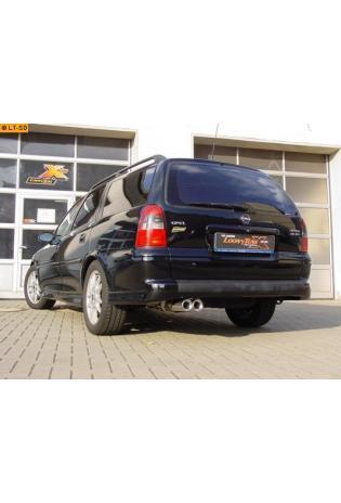 FOX Sportauspuff Endschalldämpfer Edelstahl Opel Vectra B Typ J96 Fließheck u. Stufenheck u. Caravan ohne Anhängerkupplung ab Bj. 99  2 ER  80mm  eingerollt  gerade  mit Absorber