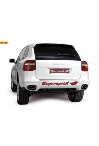 Supersprint Sportauspuff Duplex-Endschalldämpfer 120x80-100x75 oval verschlungen - Porsche 957 Cayenne 3.6i u. S 4.8 ab Bj. 07 u. 3.0d Bj. 09-10