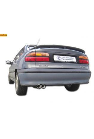 FOX Sportauspuff Endschalldämpfer Edelstahl Renault Laguna Limousine Bj. 93-00 1.6l  1.8l  2.0l  3.0l  1.9l dTi  2.2l D  2.2l dT - 2 x 80mm eingerollt gerade mit Absorber