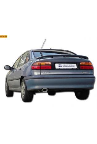 FOX Sportauspuff Endschalldämpfer Edelstahl Renault Laguna Limousine Bj. 93-00 1.6l  1.8l  2.0l  3.0l  1.9l dTi  2.2l D  2.2l dT - 135x80mm flachoval eingerollt abgeschrägt mit Absorber