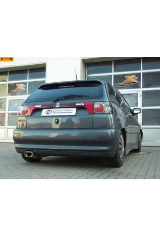 FOX Sportauspuff Endschalldämpfer Edelstahl Seat Ibiza ab Bj. 96 1.0l  1.4l  1.9l D  1.9l TDI - 135x80mm flachoval eingerollt abgeschrägt mit Absorber