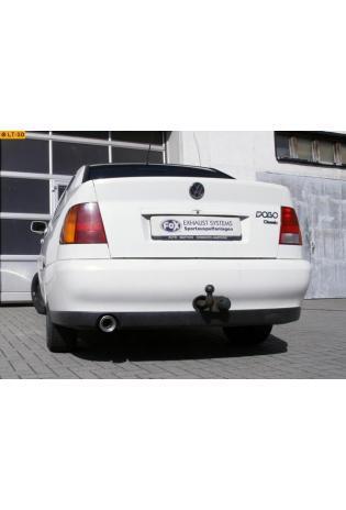 FOX Sportauspuff Endschalldämpfer Edelstahl VW Polo 6KV Classic Variant 1.4l  1.6l  1.8l  1.7l SDI  1.9l TDI und Seat Cordoba 6K - C ab Bj. 93 1.0l  1.3l  1.4l  1.6l  1.8l  2.0l  1.9l D - 90mm eingerollt gerade mit Absorber