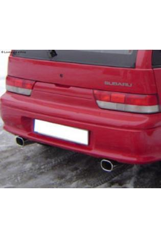 FOX Sportauspuff Duplex Endschalldämpfer quer Edelstahl Subaru Justy ab Bj. 95 Modelle mit serienmäßig nicht lackierter Stoßstange 1.3l - rechts links je 90mm eingerollt gerade mit Absorber