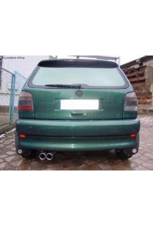 VW Polo 6N  Bj. 94-99  1.4l  1.6l  1.4l TD  1.7l D  1.9l D FOX Sportauspuff Endschalldämpfer Edelstahl  2 ER  76mm  eingerollt  gerade  mit Absorber  Ø63,5mm
