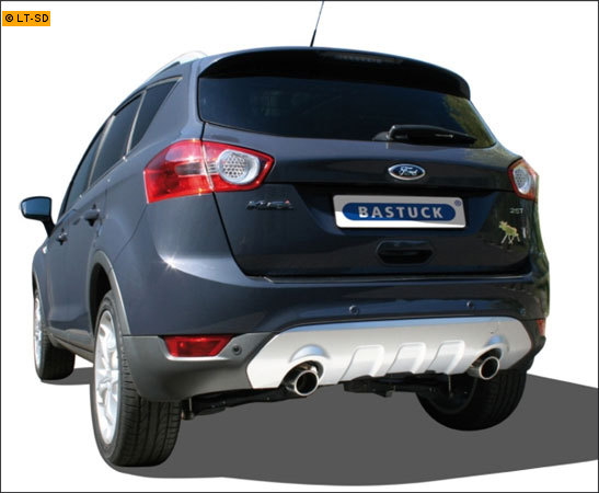 BASTUCK Sportauspuff inkl. Zubehör Ford Kuga 2.5l - rechts links je 1 x 90mm schräg eingerollt (RohrØ 70mm)