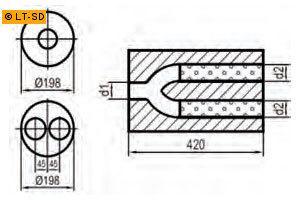 Universalschalldämpfer Rund zweiflutig mit Y-Aufbau Eingang Ø 50mm (d1) - Ausgang Ø 45mm (d2) Schallkörper Ø 198mm Länge 420mm Edelstahl