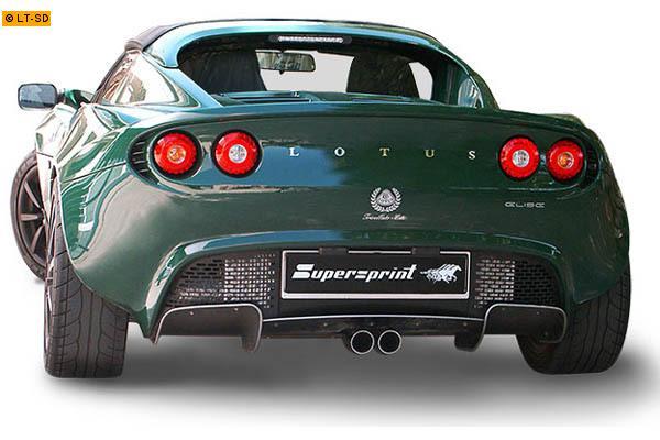 Supersprint Sportauspuff Komplettanlage mittig 2x63 rund - Lotus Elise 111R und Exige 1.8 (Mot. Toyota) ab 04