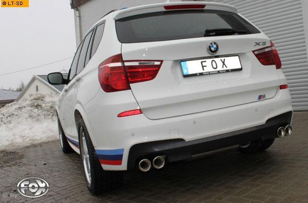 FOX Duplex Komplettanlage ab Kat. BMW X3 F25 35i rechts links je 2 x 90mm abgeschrägt