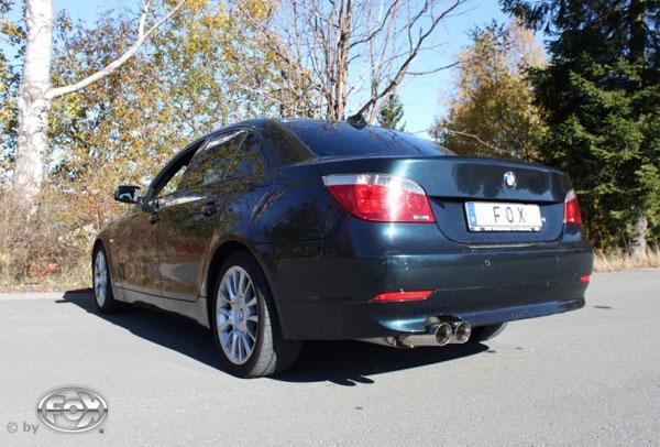 FOX Sportauspuff BMW 5er E60 Lim. E61 Touring 540i 545i ab Bj. 03 2 x 90mm mit Type-B-Einsatz (RohrØ 80mm)
