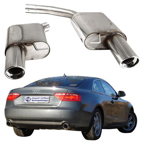 FOX Sportauspuff Endschalldämpfer Duplex Audi A4 Coupe A5 Coupe & Cabrio & Sportback Endrohr rechts links je 1 x 100mm abgeschrägt (RohrØ 2 x 63.5mm)