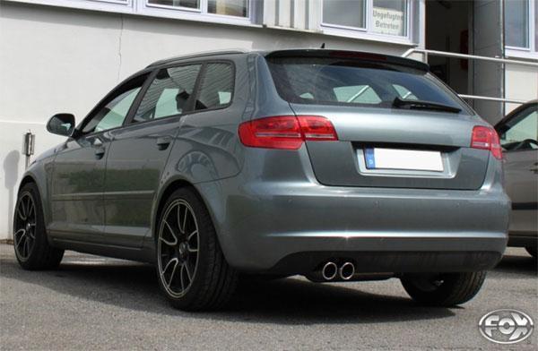 FOX RACING Komplettanlage ab Kat Audi A3 8P Quattro Sportback 1.8l  2.0l  3.2l  2.0l TDI - 2 x 90mm eingerollt schräg (RohrØ 70mm)