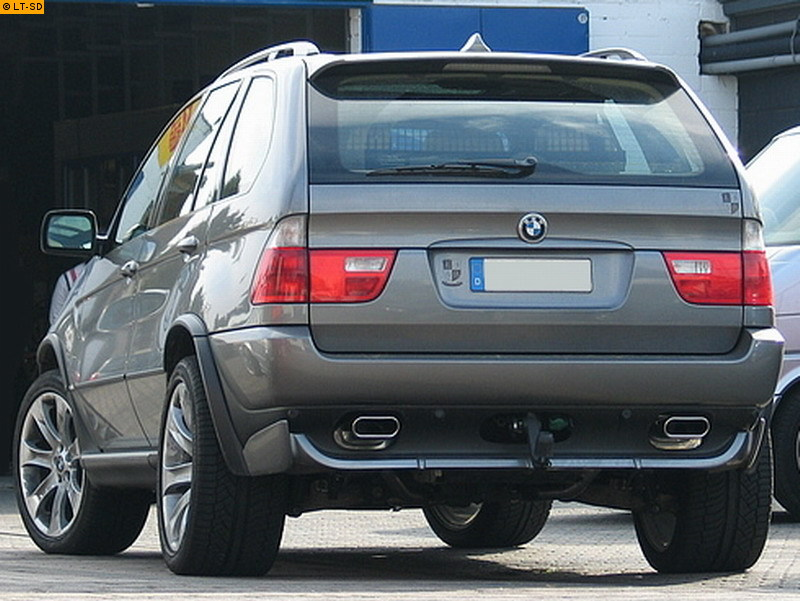 EISENMANN Sportauspuff Duplex Endschalldämpfer Edelstahl BMW E53 3.0d - rechts links je 160x80mm flachoval eingerollt abgeschrägt