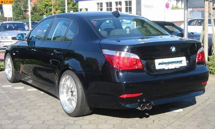 EISENMANN Sportauspuff Endschalldämpfer Edelstahl RACING BMW 550i E60 Limo E61 Touring - 2 x 76mm gerade poliert