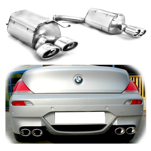 Ulter Duplex EDELSTAHL Sportauspuff Endschalldämpfer für BMW 6er E63 645Ci 650i 4Rohr 120x80mm