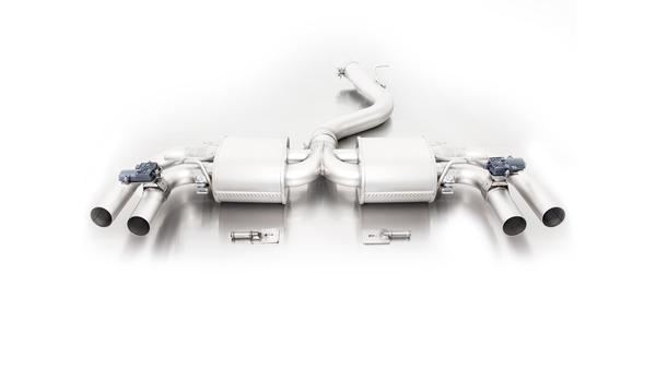 Remus Duplex Racing Komplettanlage ab Kat. mit 2 integrierten Klappen Audi RS3 Typ 8V 2.5l Turbo quattro li/re je 2 x 84mm Street Race Black Chrome