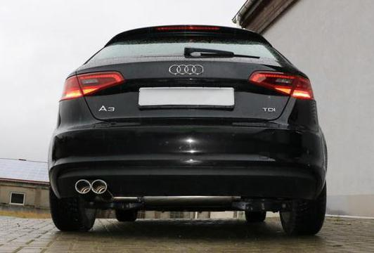 FOX Sportauspuff Racinganlage ab Kat. für Audi A3 8V Sportback einseitig 2x88x74mm Typ 32