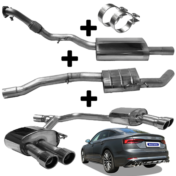 BASTUCK Duplex Anlage ab Kat. ohne Partikelfilter Audi A4 B9 A5 F5 TFSI quattro rechts links je 2x90mm