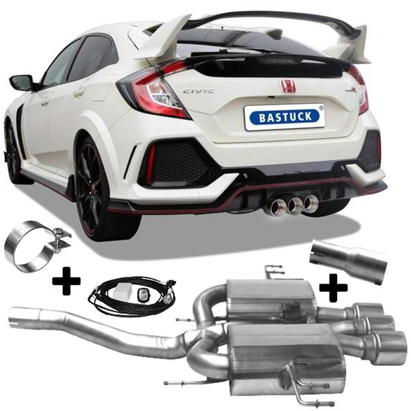 Bastuck Klappen Sportauspuff mit Zubehör Honda Civic FK8 Type R 1.5l FK7 mittig 3x100mm Race Look