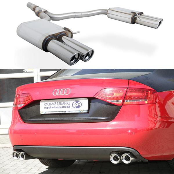 FOX Sportauspuff Audi A4 B8 Lim. Avant inkl. S-Line Frontantrieb 1.8l 2.0l TDI rechts links je 2 x 90mm