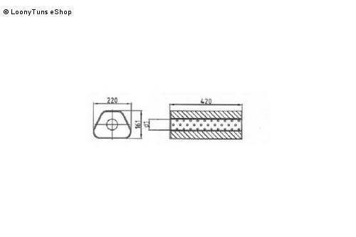 Universalschalldämpfer Trapezförmig einflutig ohne Stutzen Eingang Ø 76mm Schallkörper B220 x H161 x L420mm Edelstahl