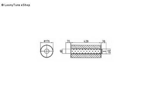 Universalschalldämpfer Rund einflutig mit Stutzen Eingang Ø 45mm Schallkörper Ø 176mm Länge 420mm Edelstahl