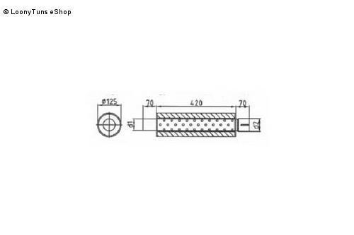 Universalschalldämpfer Rund einflutig mit Stutzen Eingang Ø 50mm Schallkörper Ø 125mm Länge 420mm Edelstahl