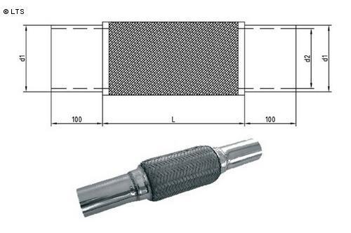 Flexrohr mit Edelstahl-Anschlussrohren Ø 76mm (d1) Länge 200mm FOX Universal