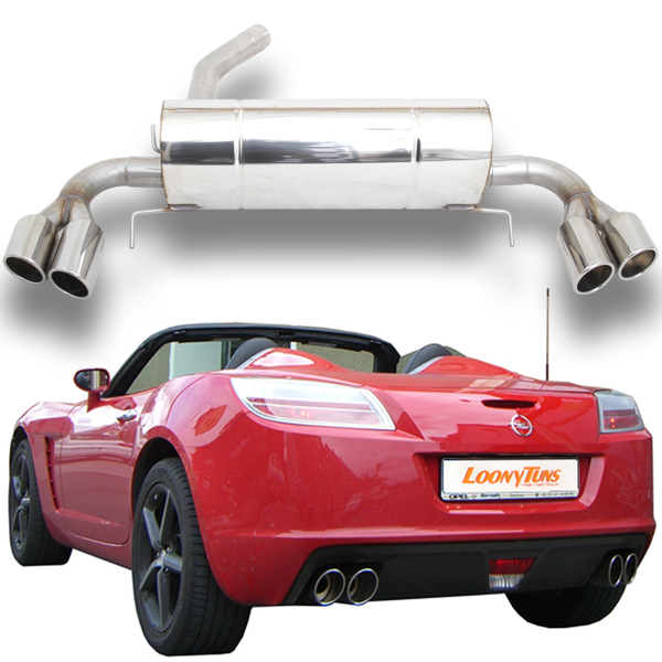 Opel GT 2.0l Turbo ab Bj. 07 FOX Duplex Sportauspuff  rechts links je 2 x 115x85mm oval Porsche Design seitlich eingerollt mit Absorber (RohrØ 70mm)