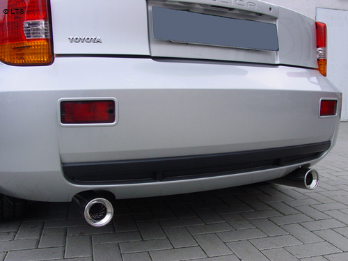 Toyota Celica T23 1.8l ab Bj. 00 FOX Racing-Komplettanlage ab Kat. rechts links je 90mm eingerollt gerade mit Absorber (RohrØ 63.5mm)