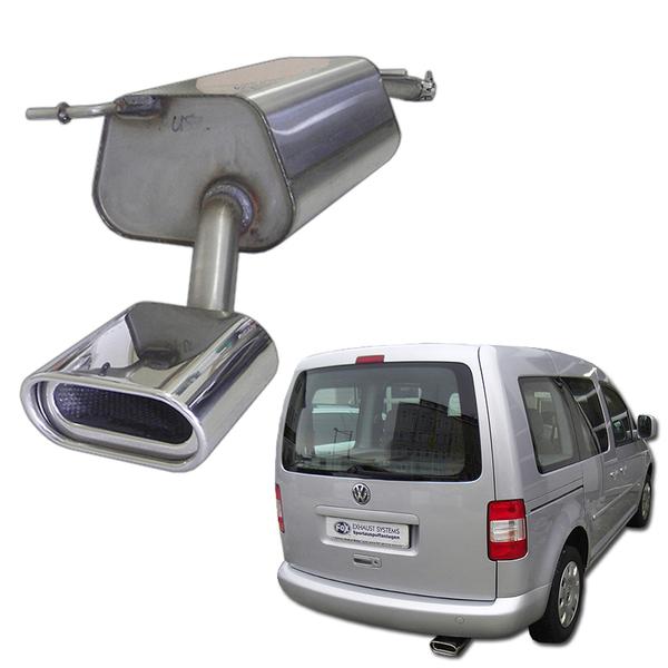 FOX Sportauspuff VW Caddy 3 1.2l 1.4l  1.6l  2.0l SDI ab Bj. 04 160x80mm mit Absorber