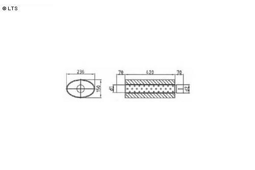 Universalschalldämpfer Oval einflutig mit Stutzen Eingang Ø 80mm Schallkörper B236 x H150 x L420mm Edelstahl