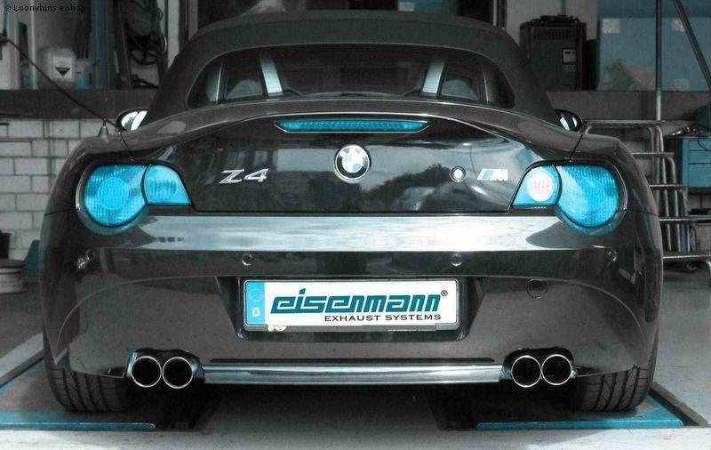 EISENMANN Sportauspuff Duplex Endschalldämpfer Edelstahl BMW E85 Roadster und E86 Coupe mit Serien-Heckschürze 2.2l  2.5l  3.0l - rechts links je 2 x 76mm gerade poliert hartverchromt - RACE-Version