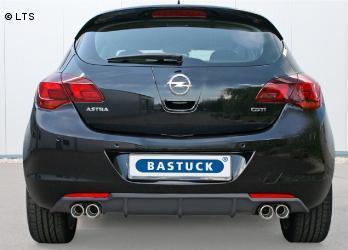 BASTUCK RACING Komplettanlage ab Kat. Opel Astra J Schrägheck ab Bj. 09 1.4l  1.6l - rechts links je 2 x 76mm schräg (RohrØ 70mm)