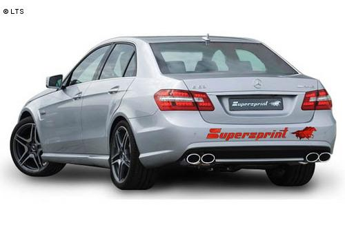 Supersprint Sportauspuff Komplettanlage rechts-links 2x 120x80 oval inkl. Fächerkrümmer und Metall-Kat. - Mercedes W212 E63 AMG V8 ab 09++ CLS 500 X218