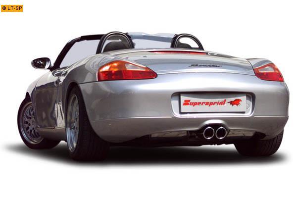 Supersprint Sportauspuff Duplex-Endschalldämpfer Race 2x90 rund mittig - Porsche Boxster Typ 986 2.7i Bj. 00-04 und Boxster S 3.2i Bj. 00-04