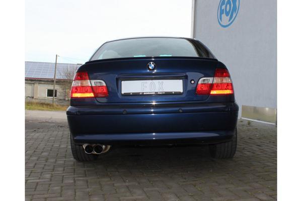 FOX Sportauspuff Endschalldämpfer BMW 3er E46 Lim. Touring Coupe Cabrio 330d 330xd - 2 x 76mm uneingerollt gerade ohne Absorber (RohrØ 2x50mm)