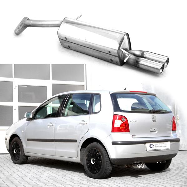 FOX Sportauspuff VW Polo 9N ab Bj. 01  1.2l  1.4l  1.4l FSI  1.4l TDI  1.9l TDI  2 x 76mm