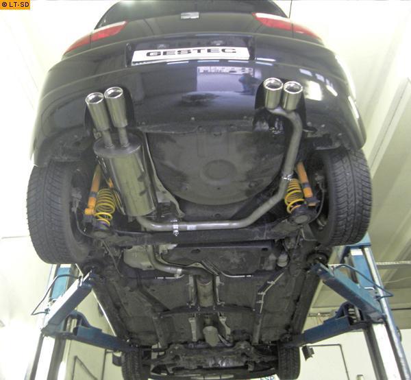 gestec sportauspuff endschalldämpfer 2x80 mm rund. eingerollt rechts